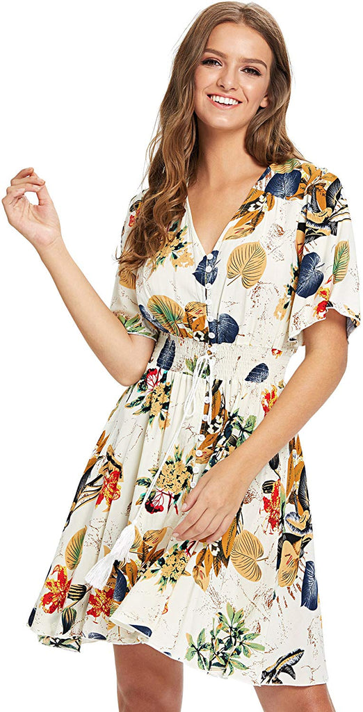Boho Button Up Split Floral Print Flowy Party Dress for women