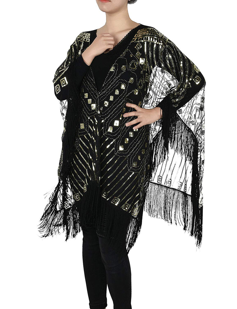 Women's Evening Wrap Beaded 1920s Shawl Fringed Oversized Cover Up