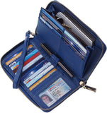 Womens Wallet Genuine Leather RFID Blocking Purse Credit Card Clutch