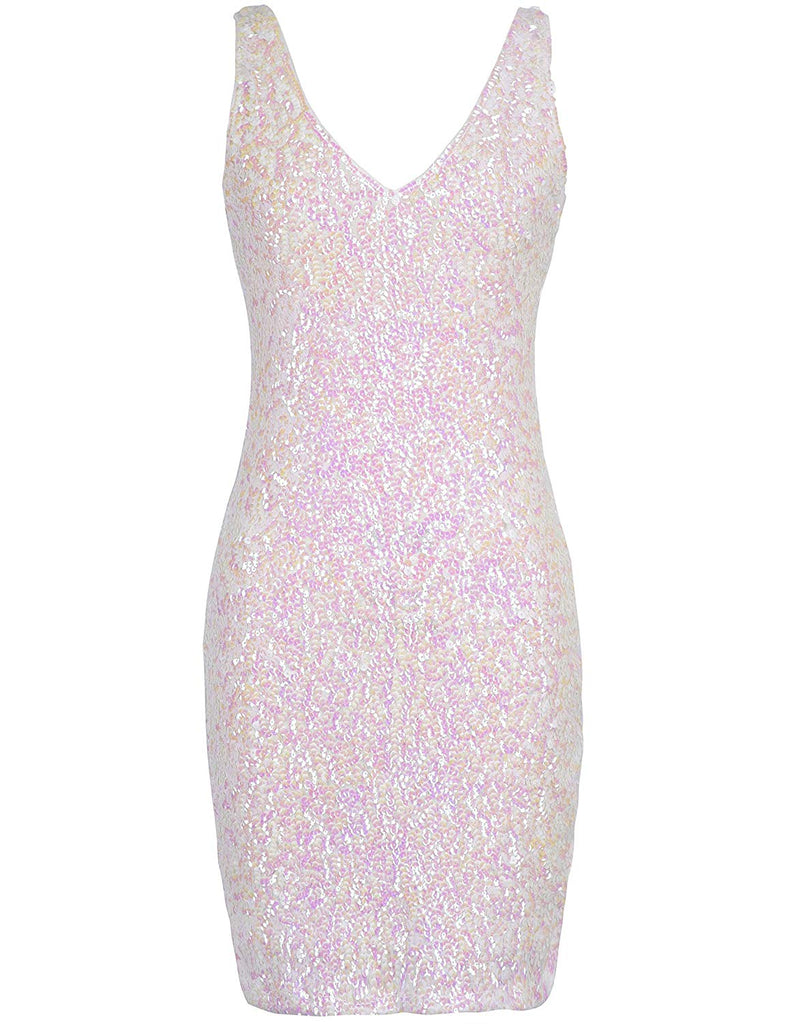Women's Sexy Deep V Neck Sequin Glitter Bodycon Stretchy Mini Party Dress