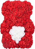Rose Bear - Valentine's Mother's Day Anniversary Wedding Best Perfect Unique Heart Thank You Teddy Gift  25cm Red Handmade