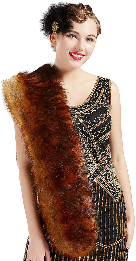 Womens Faux Fur Collar Shawl Faux Fur Scarf Wrap Evening Cape for Winter Coat