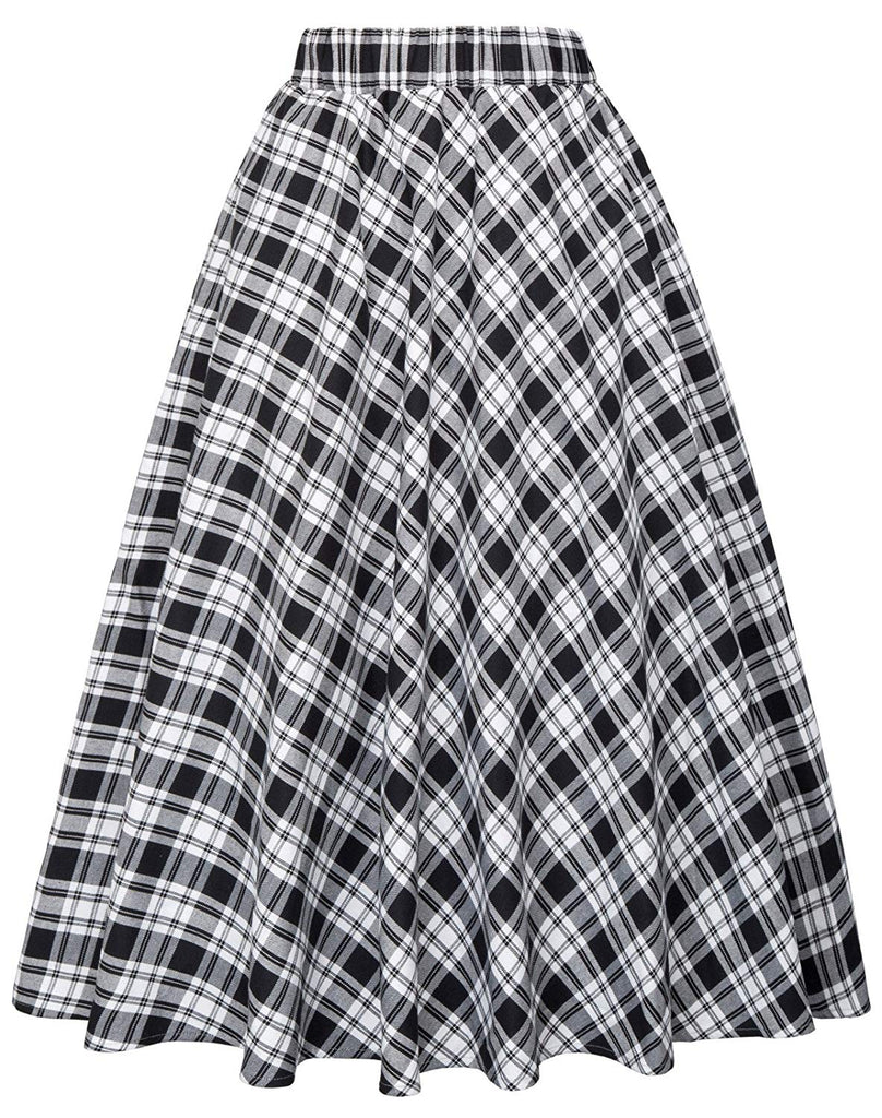 Women's A-Line Vintage Skirt Grid Pattern Plaid KK633/ KK495