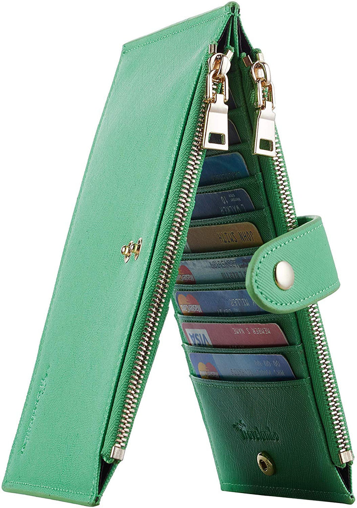 RFID Blocking Bifold Multi Card Case Wallet with Zipper Pocket Womens Walllet