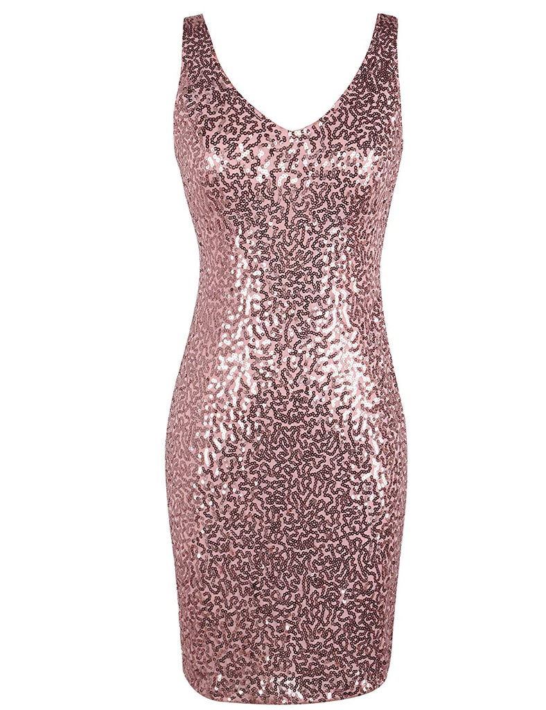 Women's Sequin Cocktail Dress V Neck Bodycon Glitter Party Dress