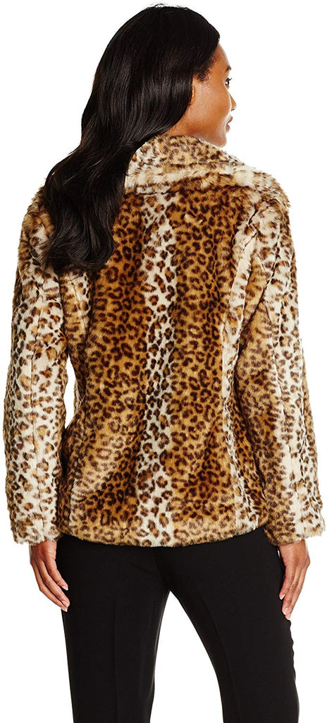 Women's Leopard Faux Fur Jacket with Oversized Collar