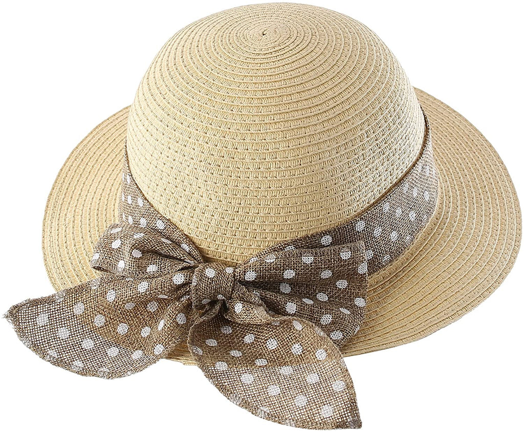 Kids Summer Straw Hat Bowknot Beach Sun Protection Hats for Girls