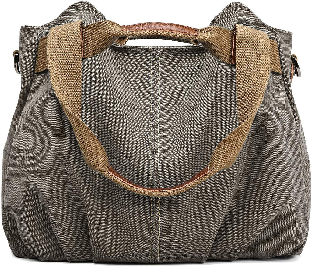 Women's Casual Vintage Hobo Canvas Daily Purse Top Handle Shoulder Tote Shopper Handbag