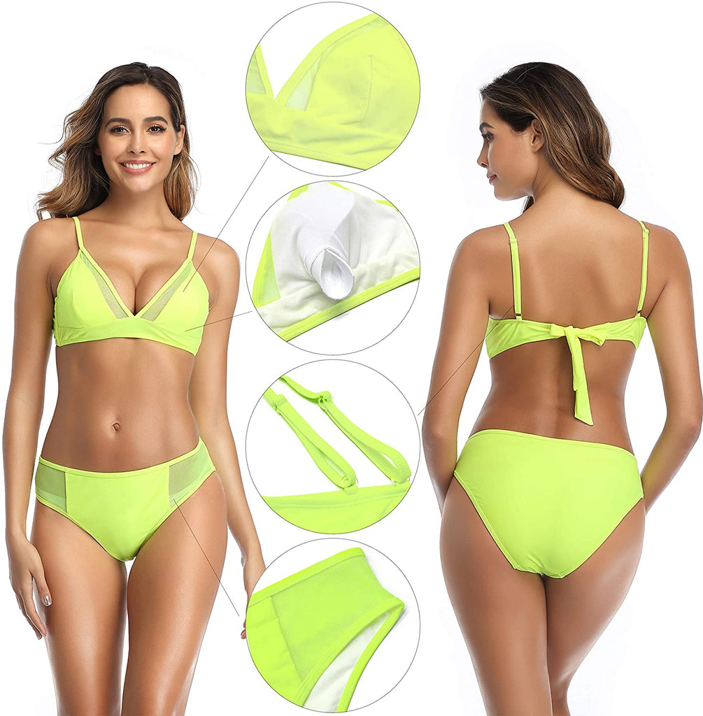 Women's Padded Triangle Bathing Suits Sexy Mesh Two Piece Swimsuits