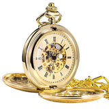 Antique Mens Pocket Watch Skeleton Mechanical Half Hunter Silver Golden Case Roman Numerals
