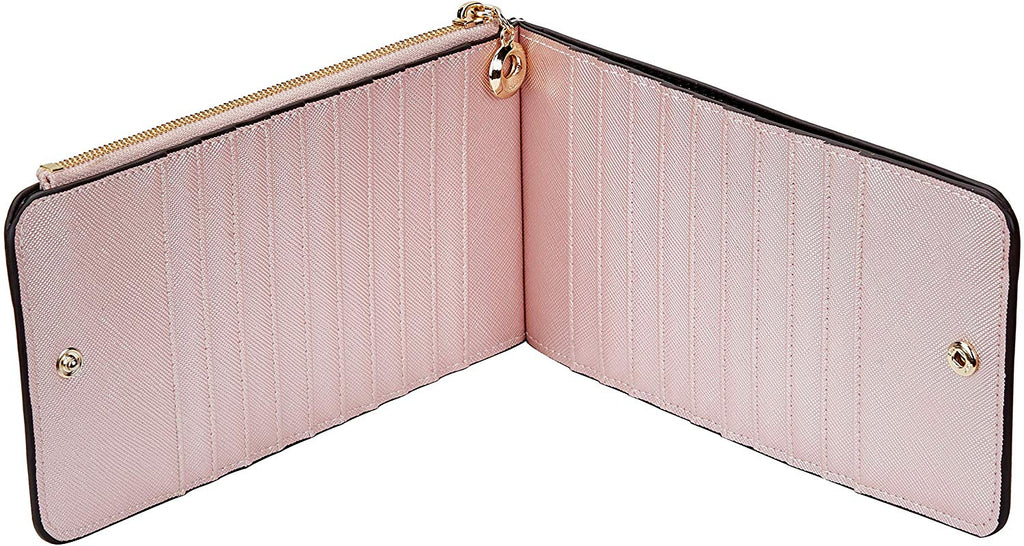 RFID Blocking Genuine Leather Multi Card Organizer Wallet with Zipper Pocket for women