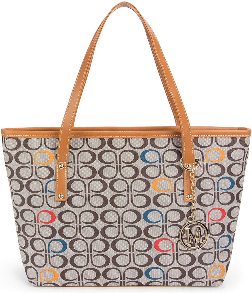 Casual Signature Printing Pu Leather Tote Shoulder Handbag with Metal Decoration for Women