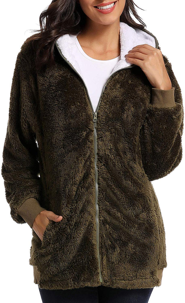 Women's Winter Oversized Open Front Fleece Hooded Draped Pockets Cardigan Coat Zip Up Faux Shearling Oversized Coat Jacket