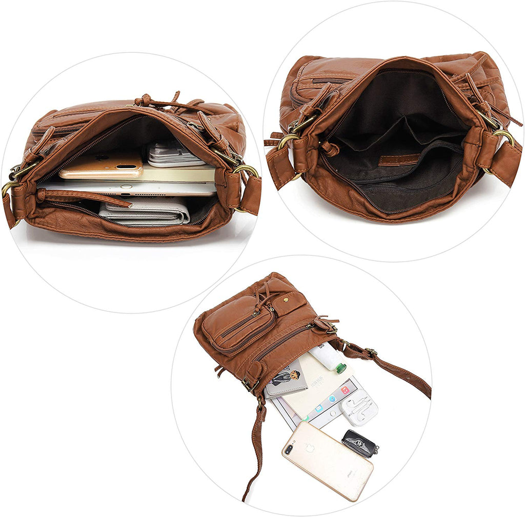 Small Multi Pocket Crossbody Bag for Women, Ultra Soft Washed Vegan Leather Shoulder Purse, H1833