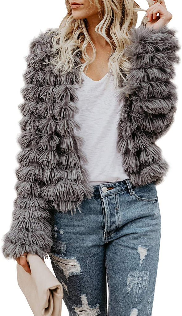 Womens Open Front Faux Fur Coat Vintage Parka Shaggy Jacket Cardigan