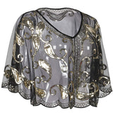 Women's Evening Cape Sequin Deco Paisley 1920s Shawl Flapper Cover up