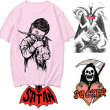 Satan T Shirt Lucifer Demon Death Scary Evil Satanism Grim Reaper Baphomet T-shirt Satanist Tshirt Male/female Top Tee