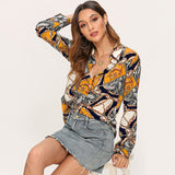 Women Blouses 2019 Fashion Chain Print Long Sleeve Vintage Blouse Turn Down Collar Casual Shirts