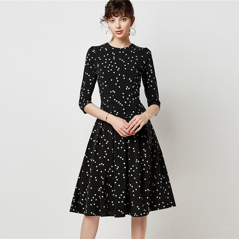 Women Vintage Dot Print Dresses 2019 Autumn Elegant Three Quarter Sleeve Office Dress