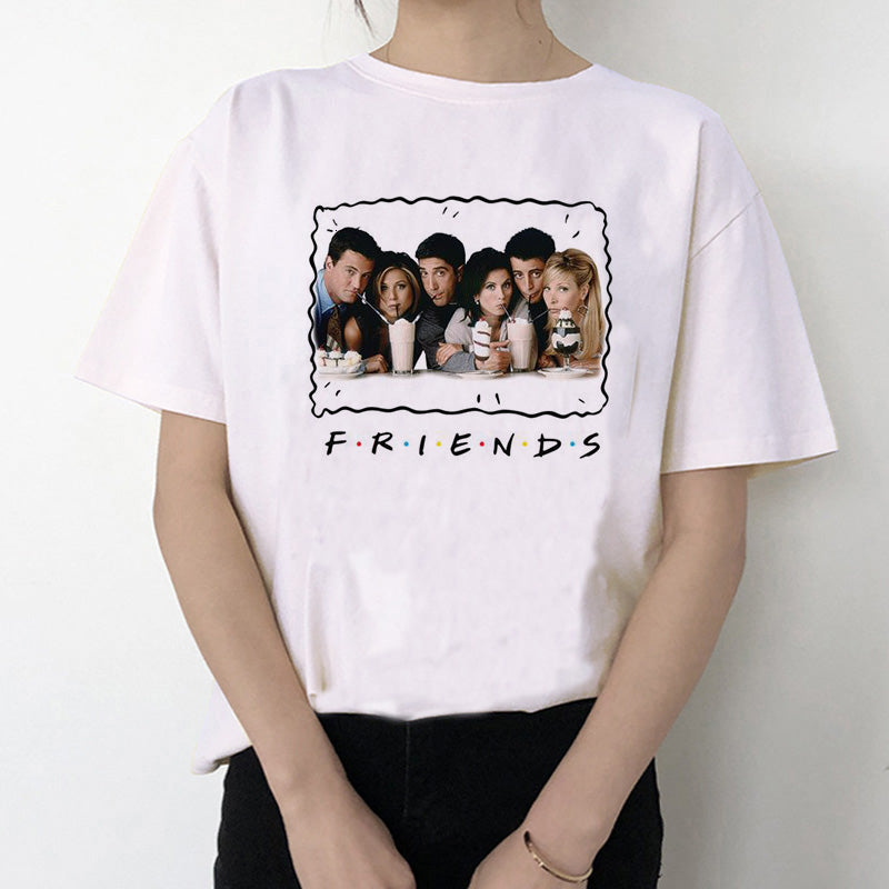 Women Female Femme Ulzzang T-shirt Friends tv show t shirt tshirt top tee shirt  Harajuku Casual Vintage Printing Funny girl