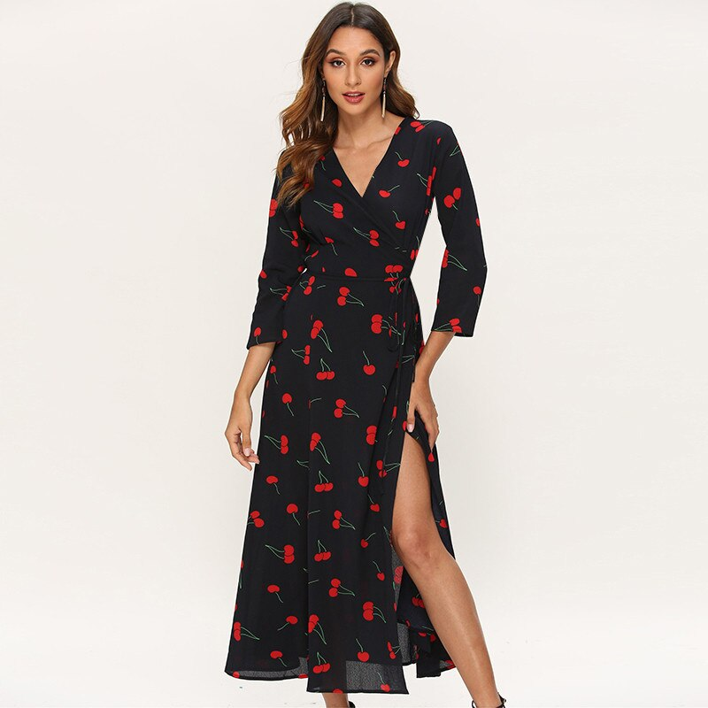 Long Elegant Dress Women Cherry Printed Casual Three Quarter Sleeve Maxi Dress Side Split V Neck Sexy Wrap Dresses Robe Longue