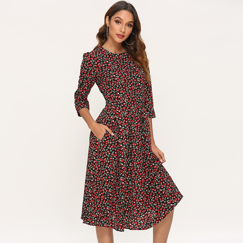 Women A Line Elegant Dress 2019 Floral Print Vintage Midi Dress Three Quarter Sleeve O-neck Party Dress Ladeis Dresses Vestidos