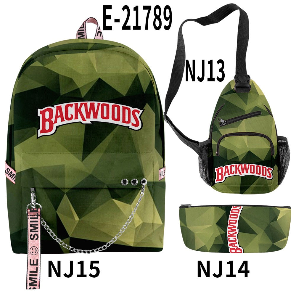 3D Printing Backpack Backwoods Cigar Set Backpack Men and Women Schoolbag Student's Backpack Support Customization