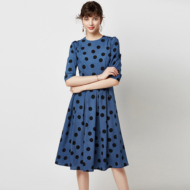 Elegant Polka Dot Dresses Women 2019 Autumn Casual A-line Midi Office  Vintage O Neck Dress