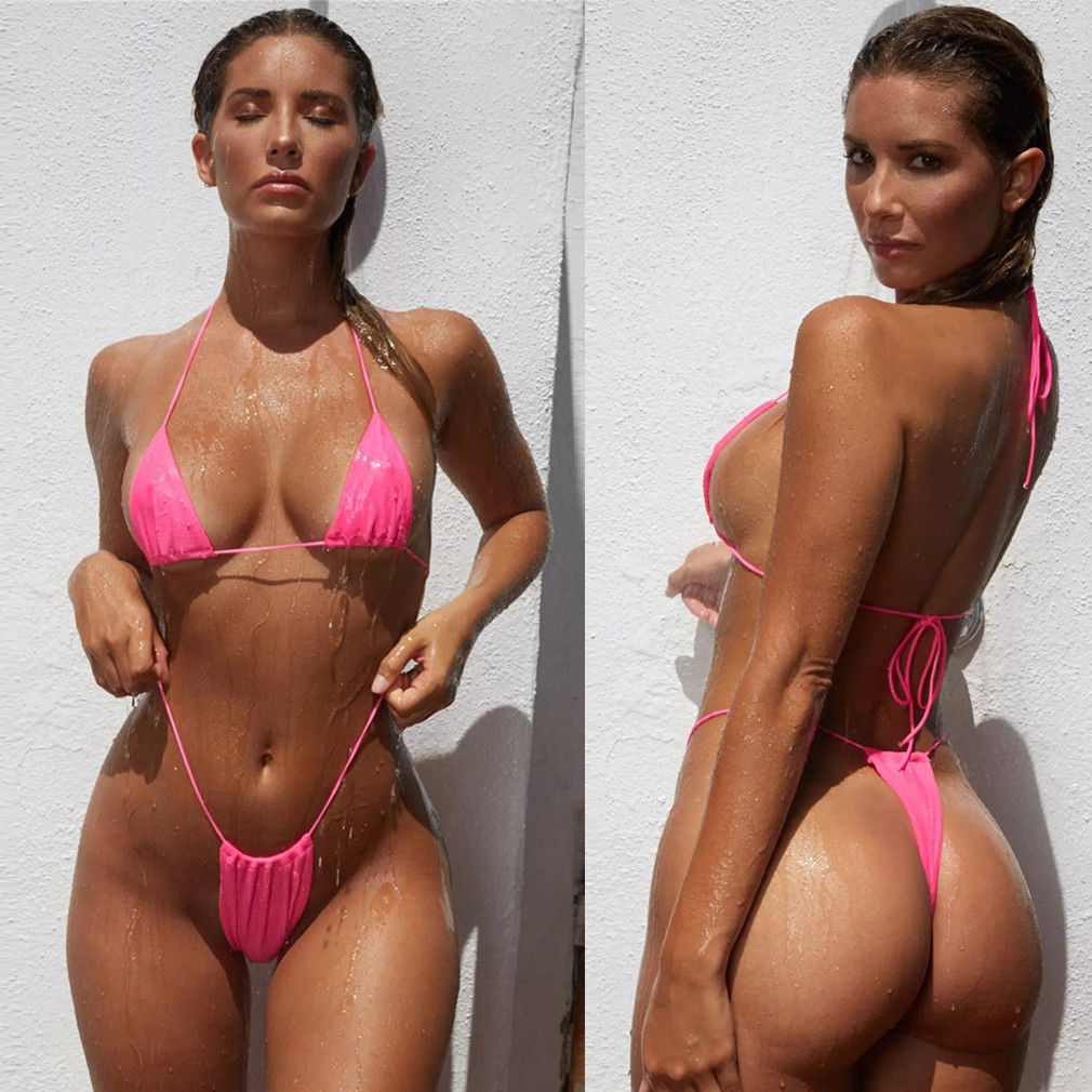 Thong Swimsuits 2pcs Sexy Women Swimwear Bikini Set Bra Triangle Suit Swimsuit