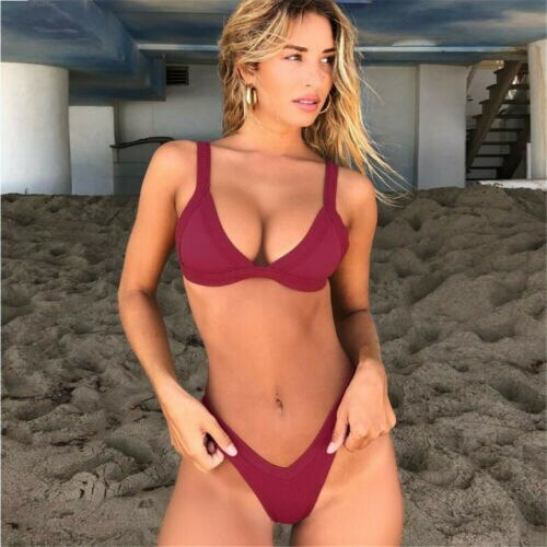 Sexy Women Bikini Set Solid Swimsuit Thong Bathing Suit Swimwear Beachwear New 2019 Summer Swimming Suit