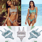 Women Swimwear Padded Bikini Set Bathing Suit Snake Print Swimsuit Triangle Swimming Suit