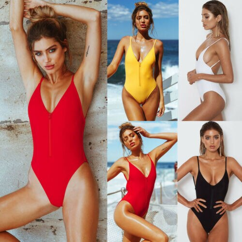 New 2019 Summer Women Monokini Zipper Front Solid Swimwear Padded Bra Backless One Piece Bikini Bathing Suit S-XL