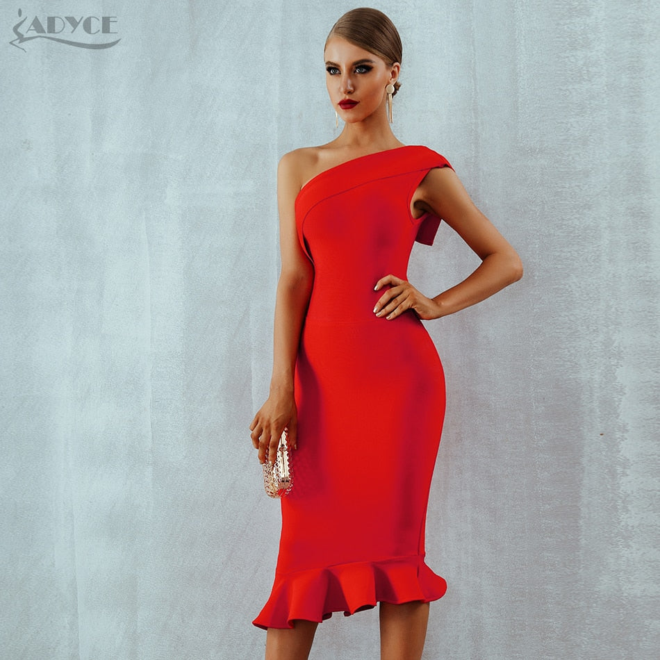 Women Bandage Dress Vestidos One Shoulder Sleeveless Ruffles Nightclub Dress Celebrity Evening Party Dress