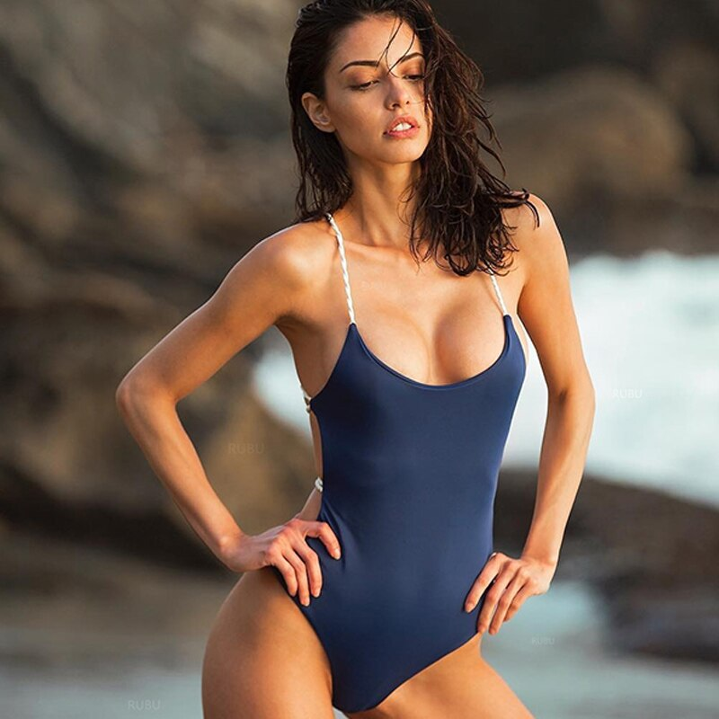 One Piece Swimsuit Women Swimwear Sexy Solid Bathing Suit 2019 Girl Bodysuit Piece Swim wear Monokini Summer Beach Wear Female