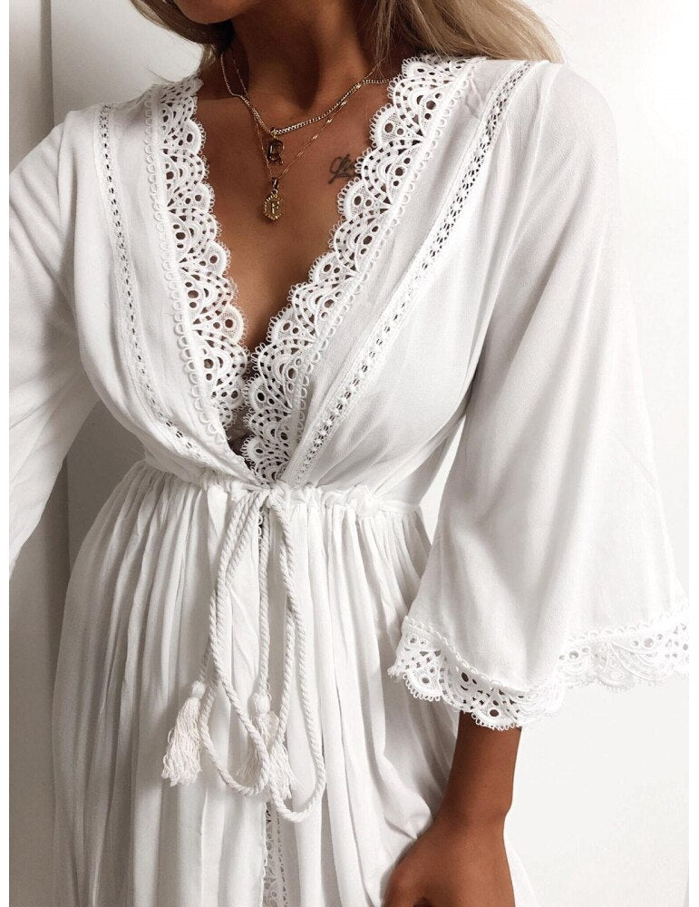 Embroidered Sexy Nightgown Satin Lace Bathrobe Perfect Wedding Bridal Party Robe Sleepwear Woman Toweled Bathrobe
