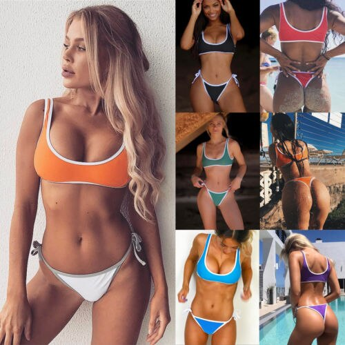 Sexy Women new 2018 Summer Bikini Set Push-up Padded Bra Swimsuit Bather Suit Set Thong Swimwear Swimming Suit biquini