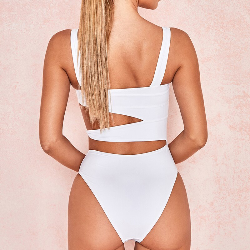 High Waisted Bathing Suit Women One Piece Sexy Bandage White Cut Out Swimsuit Push Up Swimwear Monokini Swimming Suit Women