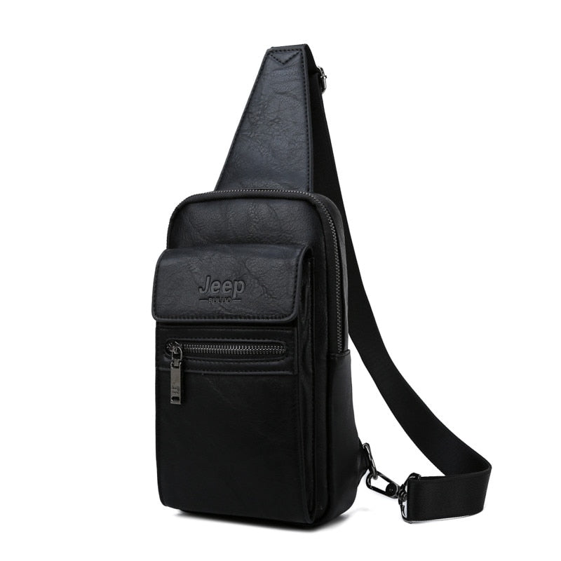 High Quality Men Chest Bags Split Leather Large Size Shoulder Crossbody Bag For Young Man Famous  Sling Bags