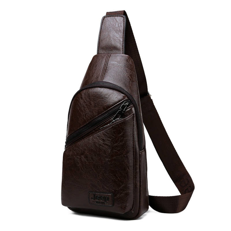 Men Sling Bags 2Pcs/Set Leather Chest Bag For College Students Fashion Casual Men's Bags Crossbody Shoulder Bag