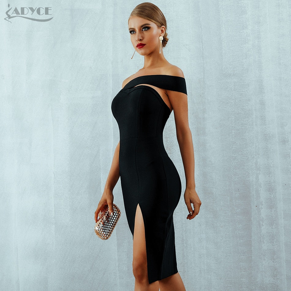 Bodycon Bandage Dress Women Vestidos Sexy Elegant One Shoulder Midi Celebrity Runway Party Dresses