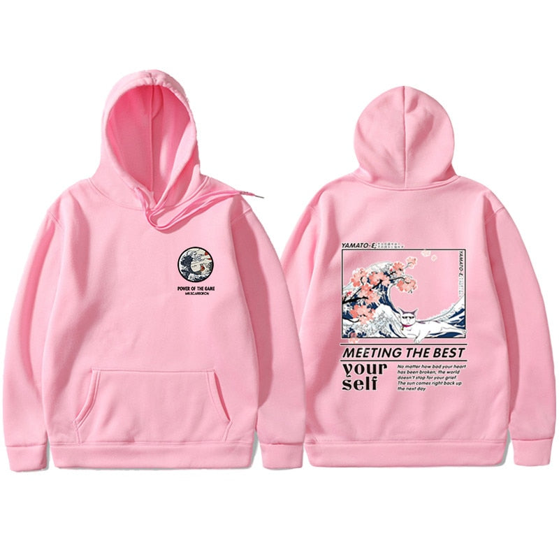 Japanese Funny Cat Wave Hoodies Sweatshirt Hip Hop Streetwear Hoodie