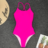 One Piece Swimsuit Women Swimwear Sexy Solid Bathing Suit  Girl Bodysuit Piece Swim wear Monokini Summer Beach Wear Female