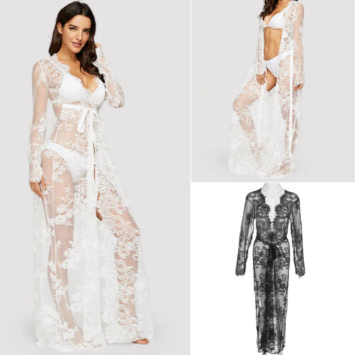 New 2019 Summer Women Beauty Lace Embroidery Summer Long  Beach Cover Ups Kimono Cardigan White Black