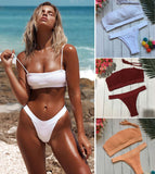Black Friday Deals New 2018 Summer Women's Strapless Push Up Padded Off Shoulder Bikini Set Swimsuit Swimwear Thong Bathing Suit