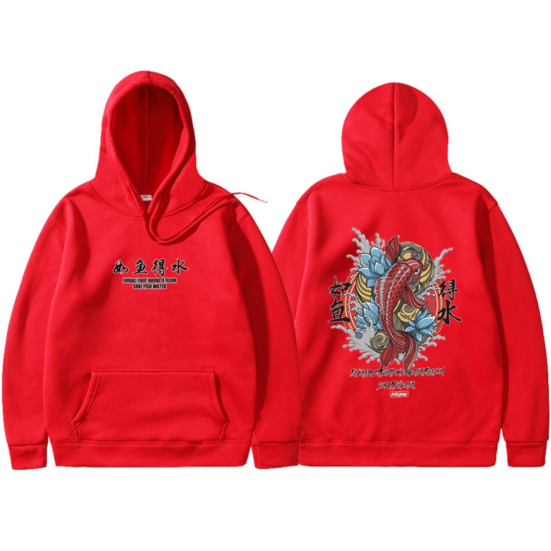 Hip Hop Hooded Japanese Style Koi Casual Sweatshirts Streetwear Men/Women Pullover