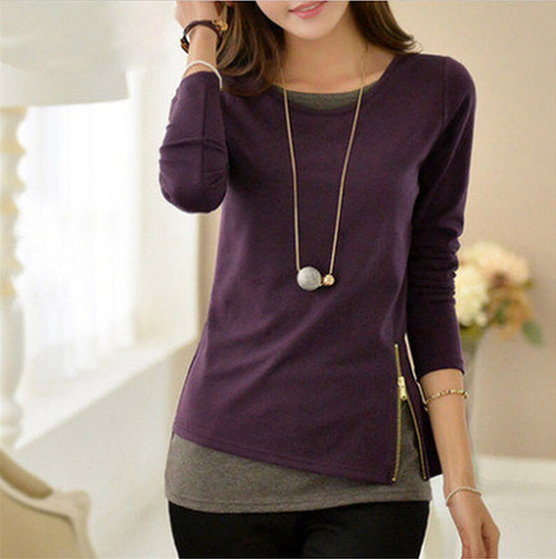 Women t shirt Casual Long Sleeve Tops Zipper Fake Two Pieces Tee Shirt