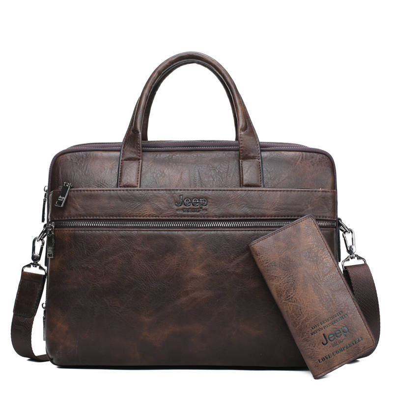 "Men's Briefcase Bags For 14"" Laptop Man Business Bag 2Pcs Set Handbags High Quality Leather Office Shoulder Bags Tote"