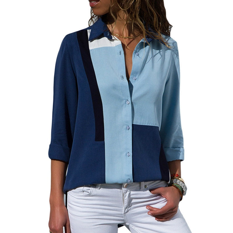 Office Shirt Woman Casual Patchwork Printed Long Sleeve Blouse Turn Down Collar Tunic Tops