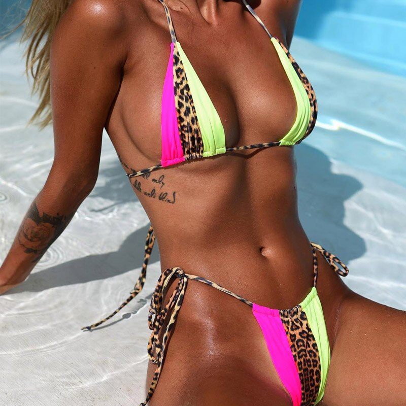 High Waist Bandage Micro Orange Leopard Bikini Push Up Swimwear Women Bathing Suit Sexy Swimsuit Brazilian Bikinis 2019 Mujur