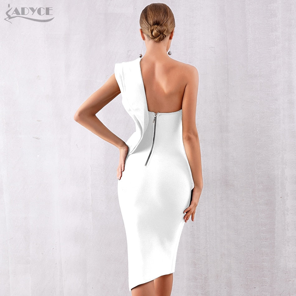 Women Bandage Dress Celebrity Evening Party Dresses Sexy One Shoulder Ruffles Bodycon Club Dress